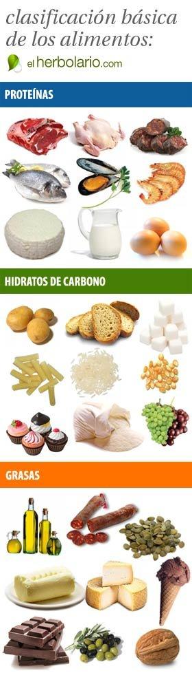 Clasificaci n de los alimentos prote nas gl cidos - Alimentos hidratos de carbono ...